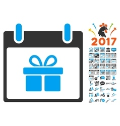 Gift Box Calendar Day Flat Icon With Bonus vector