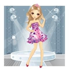 Girl In Pink Dress Dancing vector image