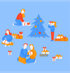 Girl open gift present couple celebrate christmas vector