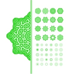 Green mandala ornament set vector image