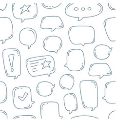 hand draw doodle speech bubbles seamless pattern vector image