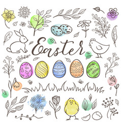 hand drawn easter doodle elements vector image