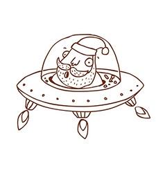 Hand drawn santa claus in a spaceship vector
