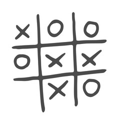 Hand-drawn tic tac toe game vector