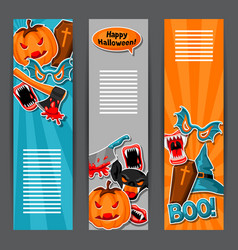 happy halloween banners with cartoon holiday vector image