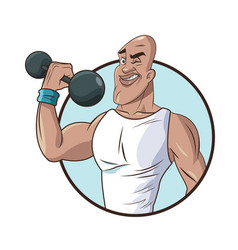 Healthy man athletic muscular weight barbell vector