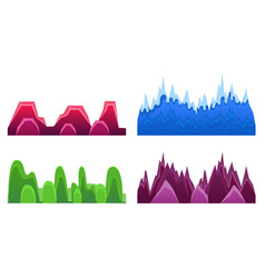 Hills and mountains set landscape elements for vector