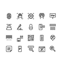 identification line icons biometric sensor face vector image