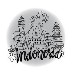 Indonesia icons and landmarks vector