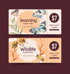 Insect and bird ticket design with butterfly bee vector