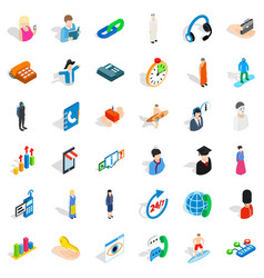 Job icons set isometric style vector