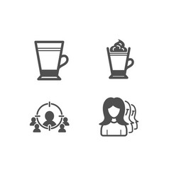 latte business targeting and latte coffee icons vector image