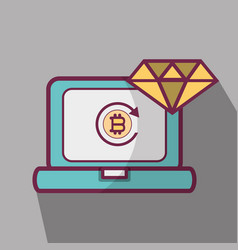 Line icon computer bitcoin money currency vector