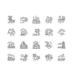 line landscape icons vector image
