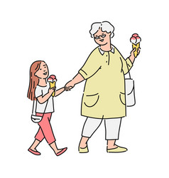 Little girl and her grandmother eating ice-cream vector