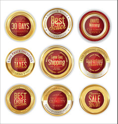 Luxury gold and red badges collection vector