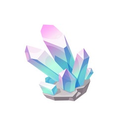 Magic crystal gem blue with pink jewel vector