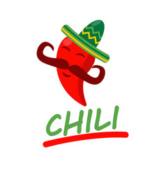 Mexican restaurant icon template of chili vector