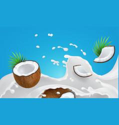 milk splashing liquid coconut drink advertising vector image