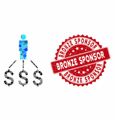 Mosaic person expenses with grunge bronze sponsor vector