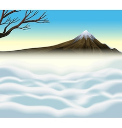 Nature scene with volcano and mist vector