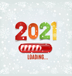new year 2021 loading bar on winter background vector image