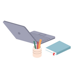 office workplace laptop notebook stationery vector image