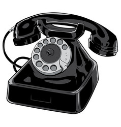 old phone on white vector image