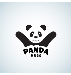 Panda Hugs Abstract Emblem or Logo Template vector