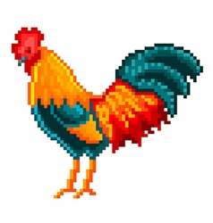 Pixel rooster isolated vector