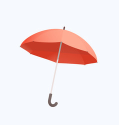 Red umbrella isolated object on white flat and vector