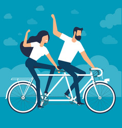Riding a tandem bike vector