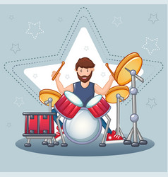 rock drummer concept background cartoon style vector image