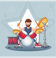 Rock drummer concept background cartoon style vector