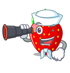 Sailor with binocular fresh ripe strawberry vector