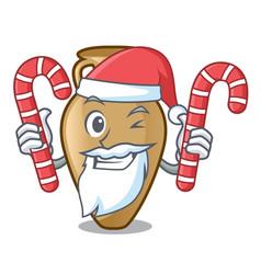 santa with candy amphora mascot cartoon style vector image