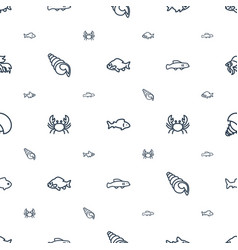 Seafood icons pattern seamless white background vector