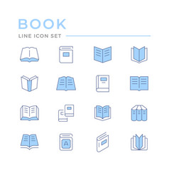 set color line icons book vector image