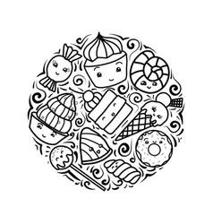 set contour child cute kawai vector image
