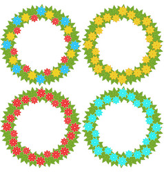set of round wreaths of yellow blue and red vector image