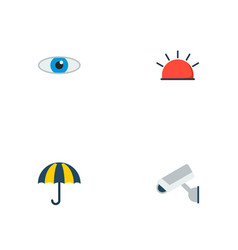 Set of safety icons flat style symbols with eye vector