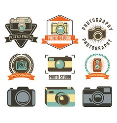 set photo studio labels vector image