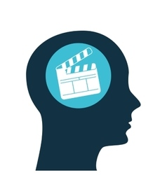 silhouette head concept cinema clapper vector image