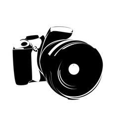 Slr camera logo black on a white background vector