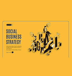 social business growth isometric landing page vector image
