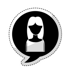 speech bubble with woman avatar character vector image