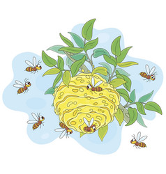Striped wasps flying around a hive vector
