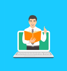 Teacher man holds open book to share knowledge vector
