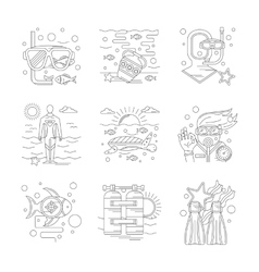 Undersea vecations of detailed line icons vector