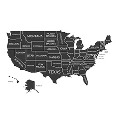 USA map with federal states black vector image